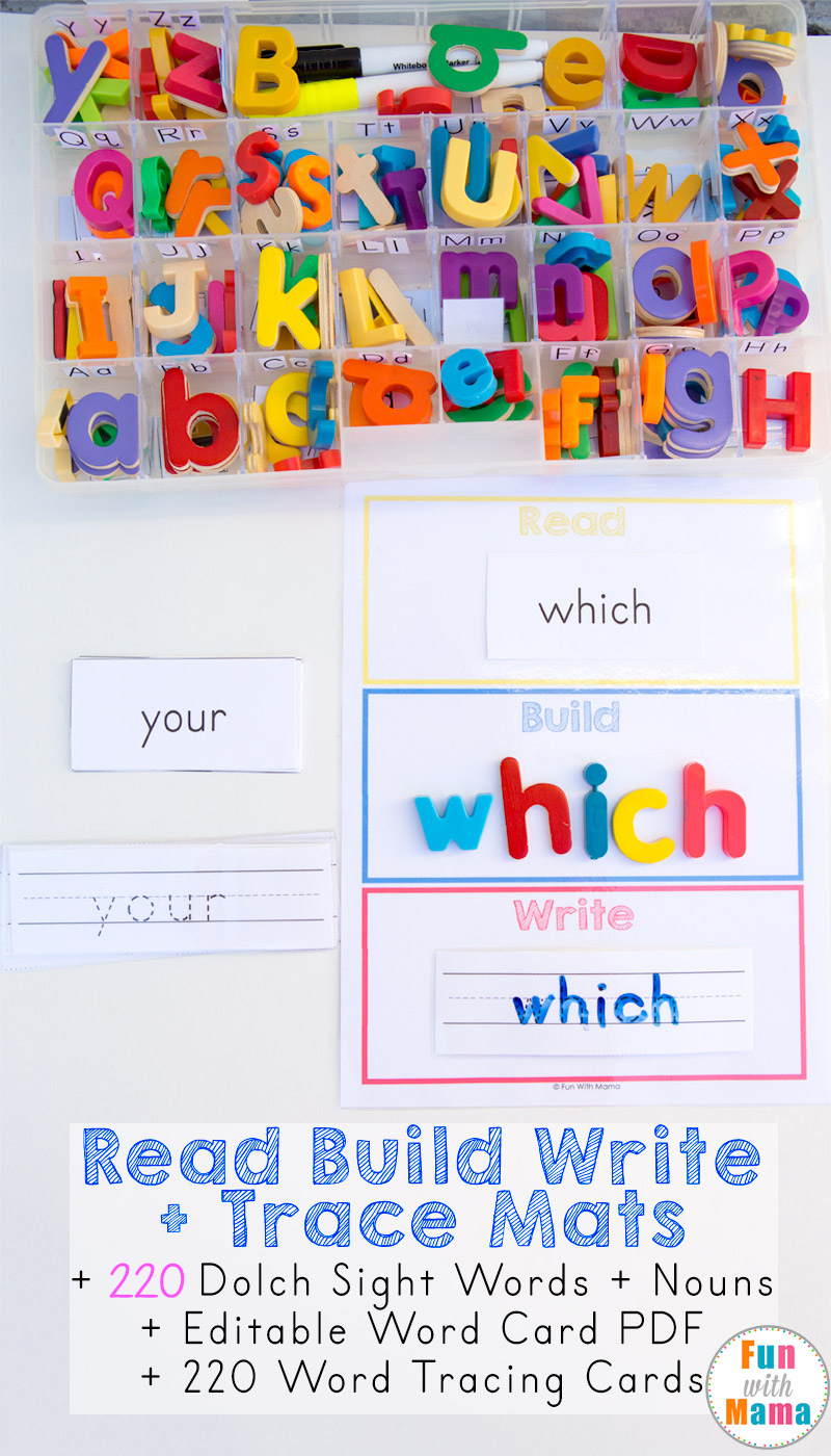 Read Build Write Mats + Vocabulary Cards + Editable Cards