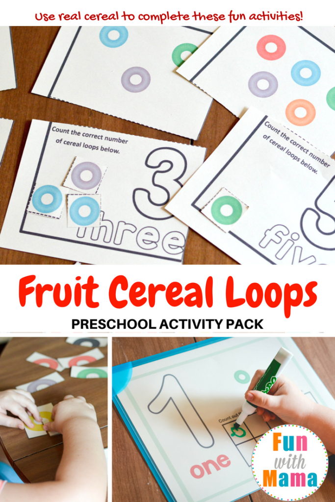 Fruit Loops Activities for kids , Toddlers and Preschool Printable for counting, color recognition, sorting mats and more