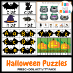 Halloween Puzzles Preschool Activity Pack