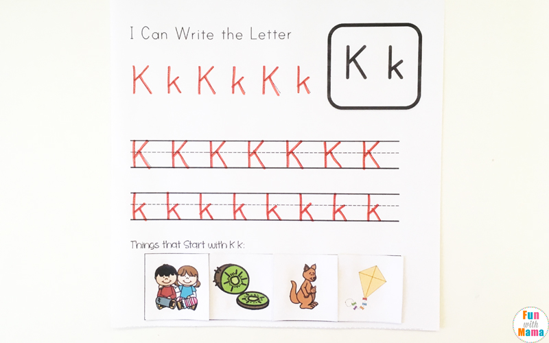 letter k tracing