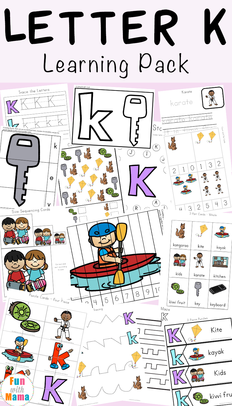 worksheet Beginning Sounds Worksheets Cut And Paste letter k activities for preschool printable pack fun with mama free worksheets crafts and learning pack