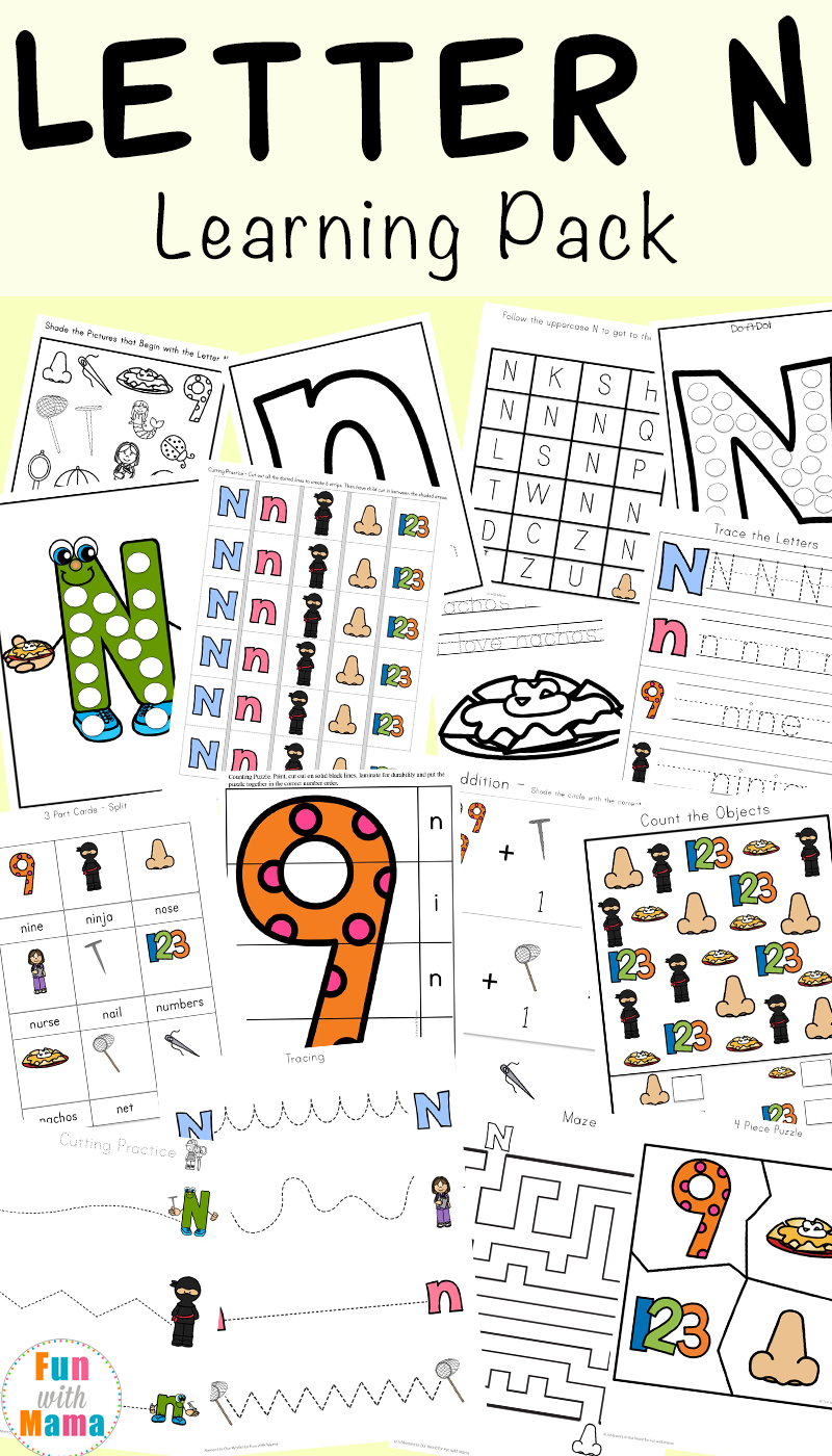 Workbooks letter n worksheets for preschoolers : Letter N Preschool Printable Pack - Fun with Mama