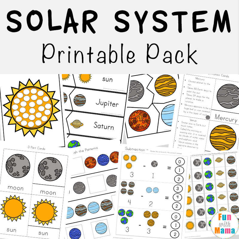 Solar System Printable Worksheets And Activities Pack - Fun With Mama
