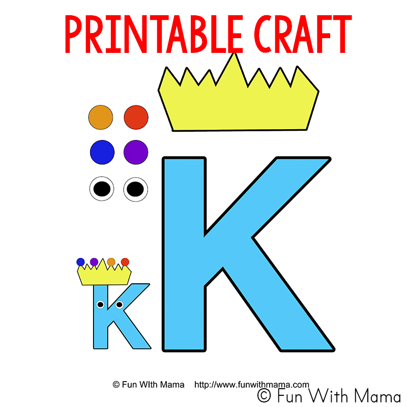 Letter k is for king craft template fun with mama letter k is for king craft template spiritdancerdesigns Choice Image