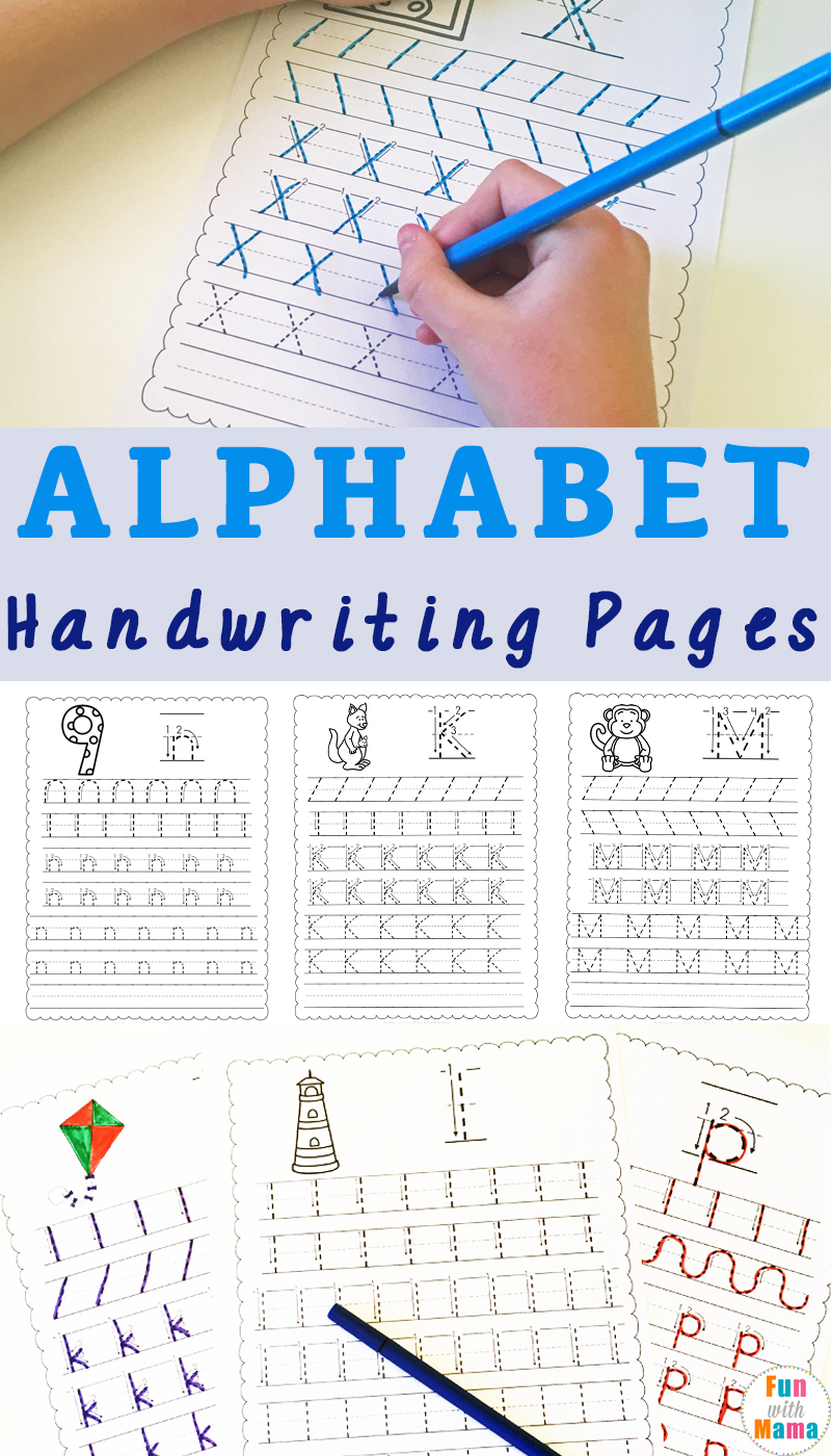 alphabet handwriting worksheets fun with mama. Black Bedroom Furniture Sets. Home Design Ideas