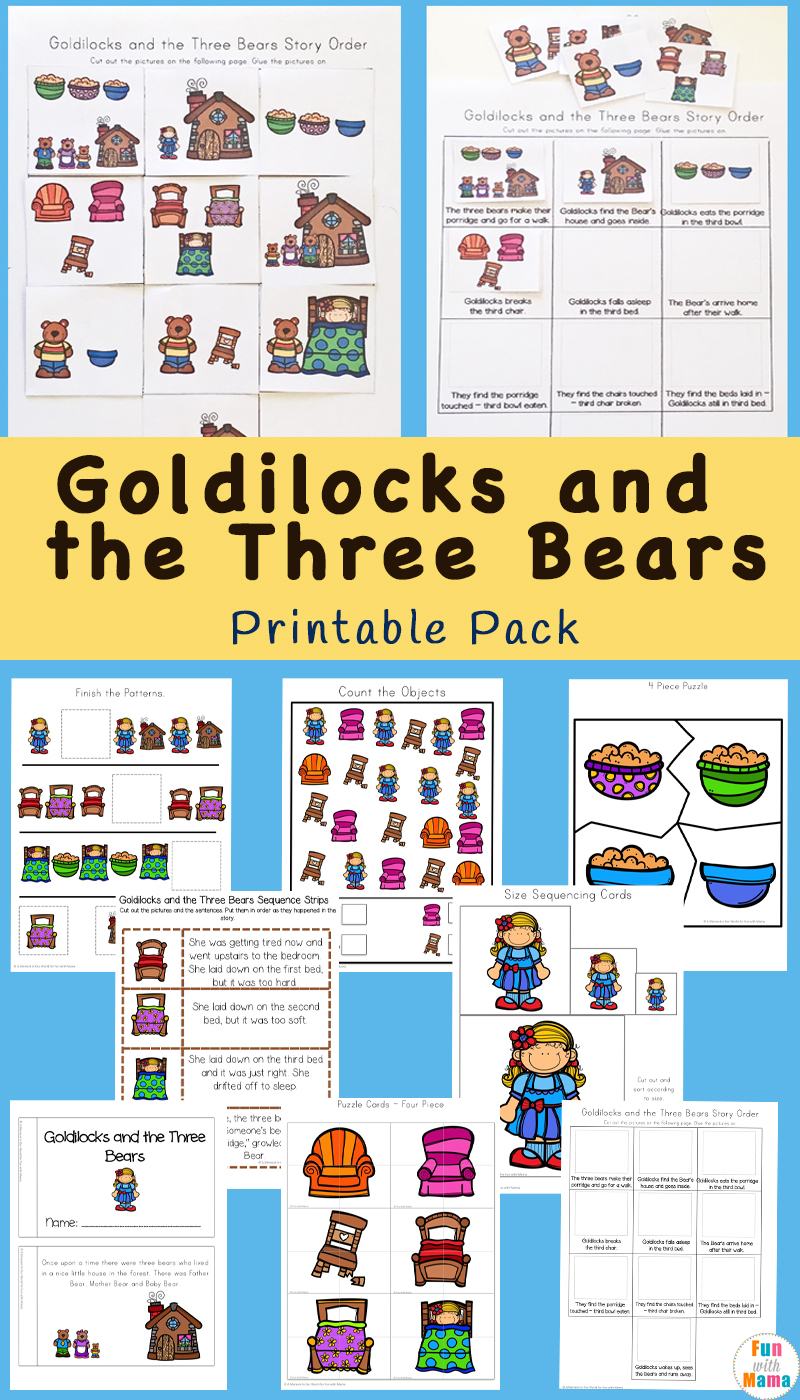 Goldilocks and the Three Bears printables, worksheets, story book, printable puppets, sequencing cards and more for preschool and kindergarten