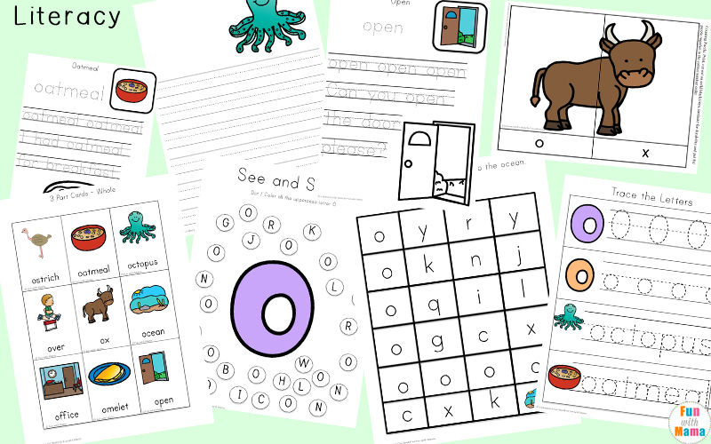 Letter O Worksheets Activities Printables on Ocean Count Clip Cards