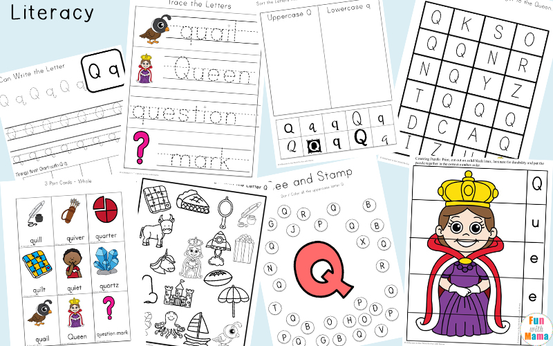 Printable Literacy Activities For Kids - Letter Q