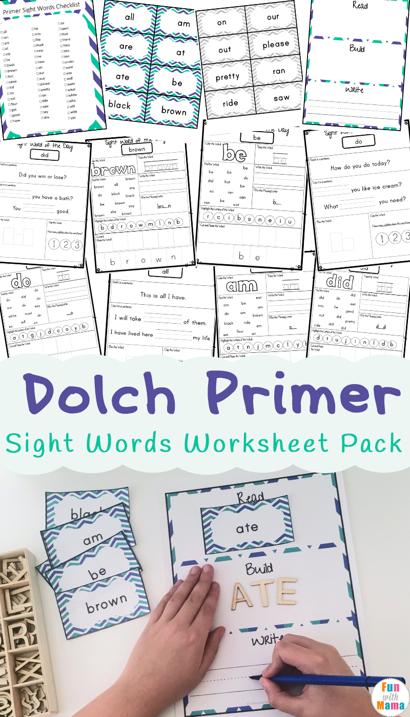 Worksheets Dolch Sight Word Worksheets dolch primer sight words worksheets fun with mama the list includes kindergarten a total of 53 are learnt and practiced throughout this 120 page printable pack