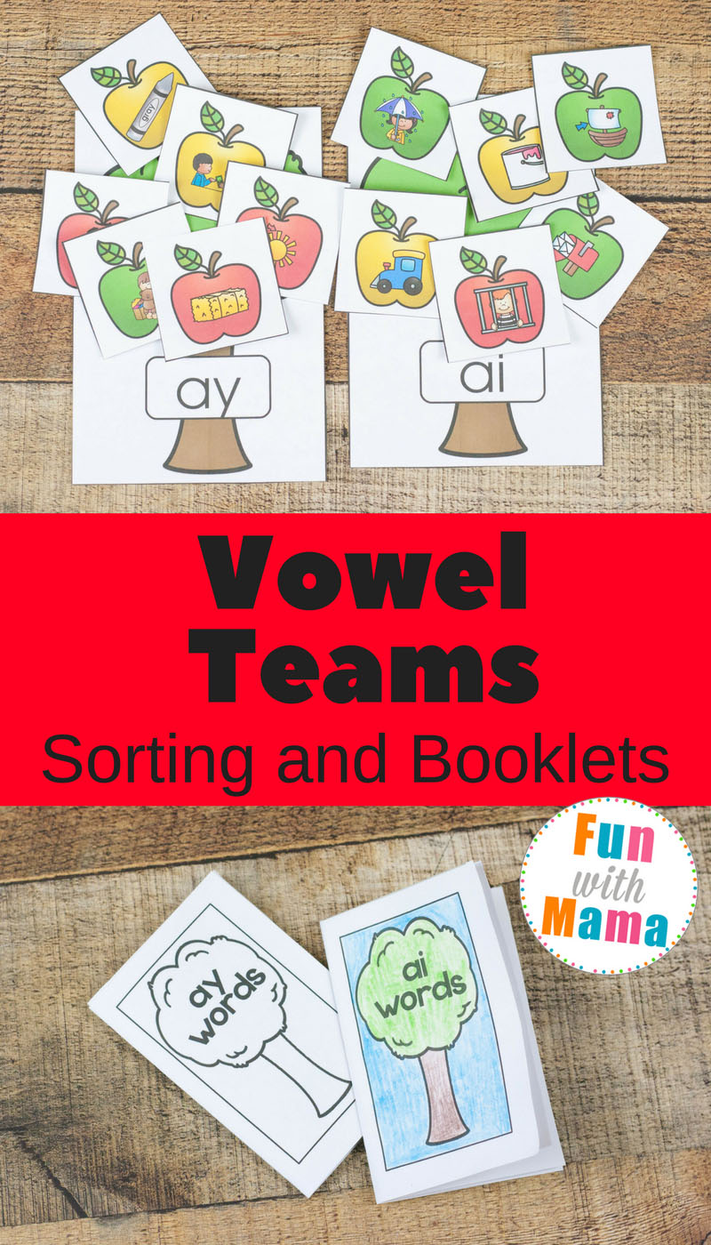 Working on reading and spelling skills with the fun apple vowel team booklets and sorting. Vowel teams can be tricky but with practice, they are a breeze.