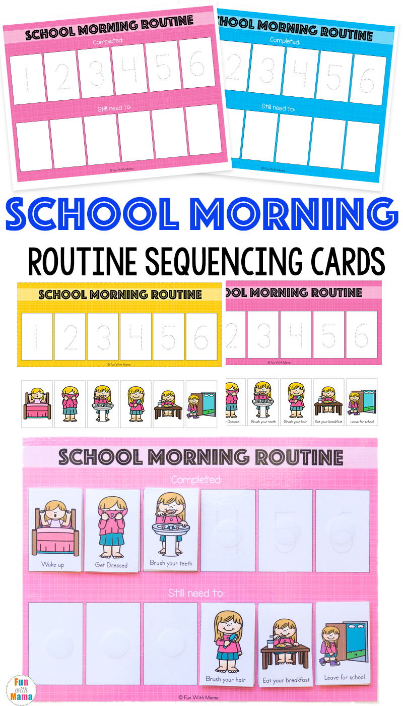 Kids School Morning Routine Cards on Picture Sequence Activities For Preschoolers