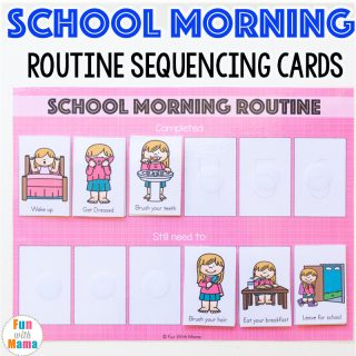 Kids Printable School Morning Routine Cards