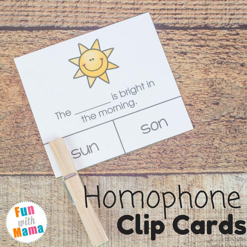 homophone clip cards