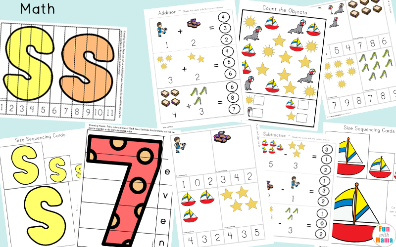 Simple Math Free Printables For Kids. Perfect for preschool or kindergarten level children who are also learning about the letter S.