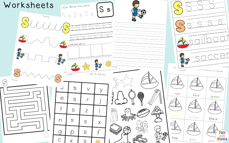 Letter S Prewriting and Handwriting Skill Practice Worksheets - Free Printables For Kids