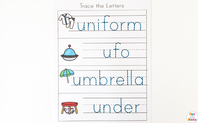 Letter u worksheets for preschool kindergarten pack fun with mama umbrella unicycle umpire under ukulele and unicorn the activities in the pack include both the lowercase and the uppercase of the letter u altavistaventures Images