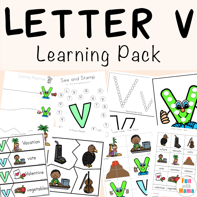 letter v worksheets for preschool and kindergarten