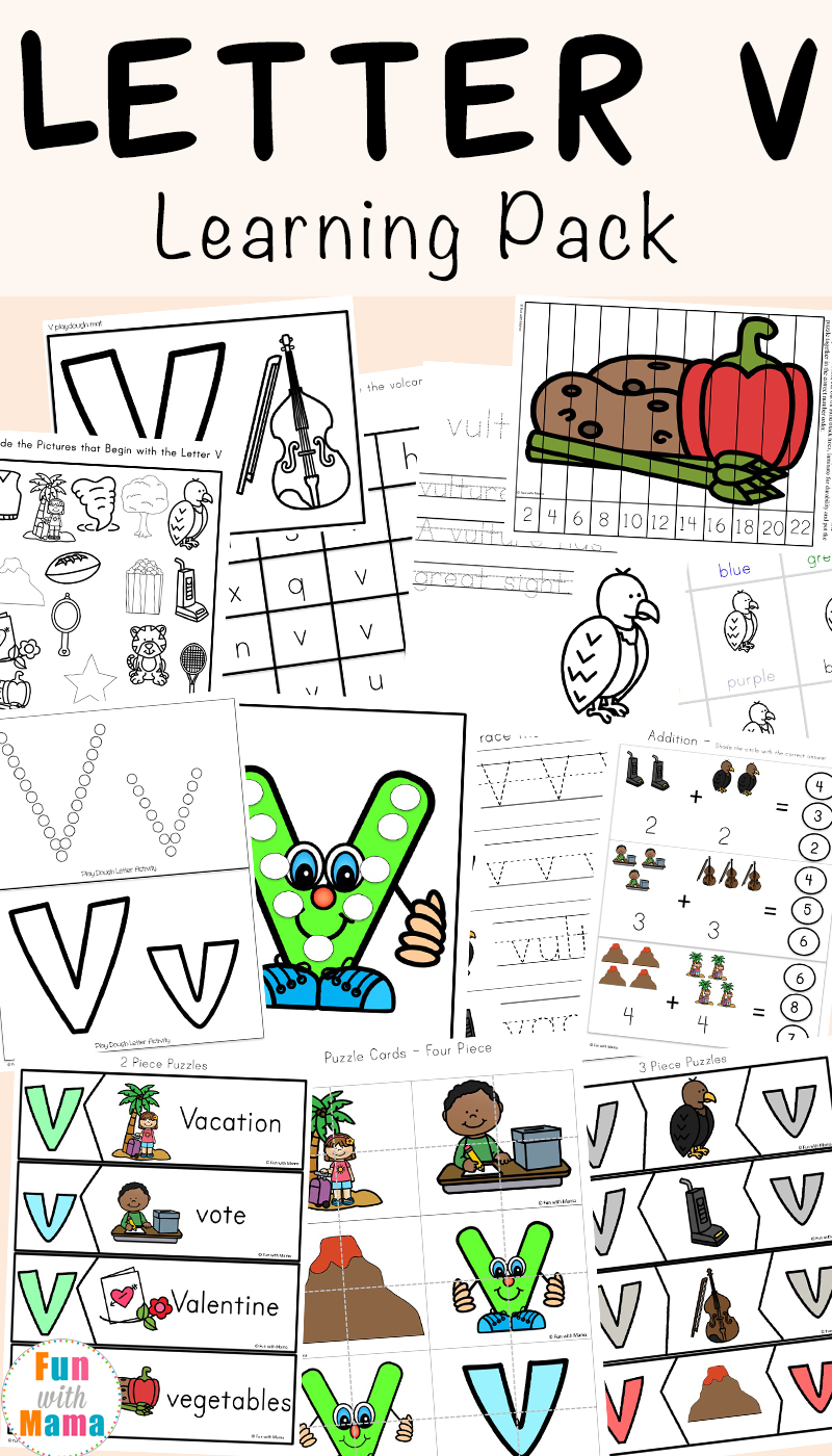 Letter V Worksheets for preschool and kindergarten pack includes: Printable activities, worksheets and games to help children practice concepts like simple math, letter recognition, prewriting and hand writing as well as fine motor skills.
