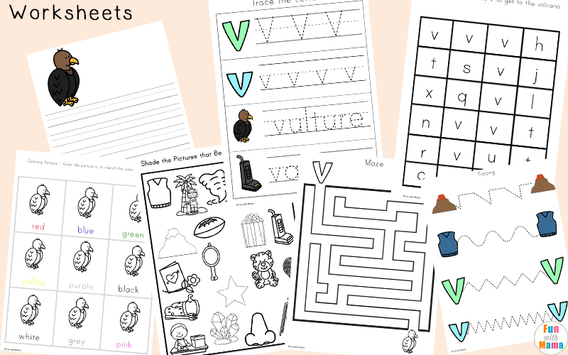 letter v tracing worksheets