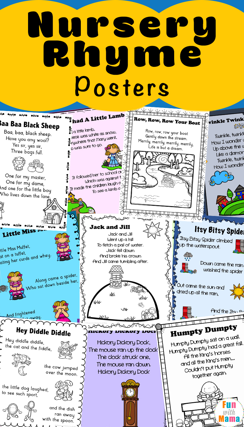 Decorate Your Clroom With These Adorable Mother Goose Nursery Rhymes Posters Print Them In Color Or Use The Black And White Versions As Coloring Pages