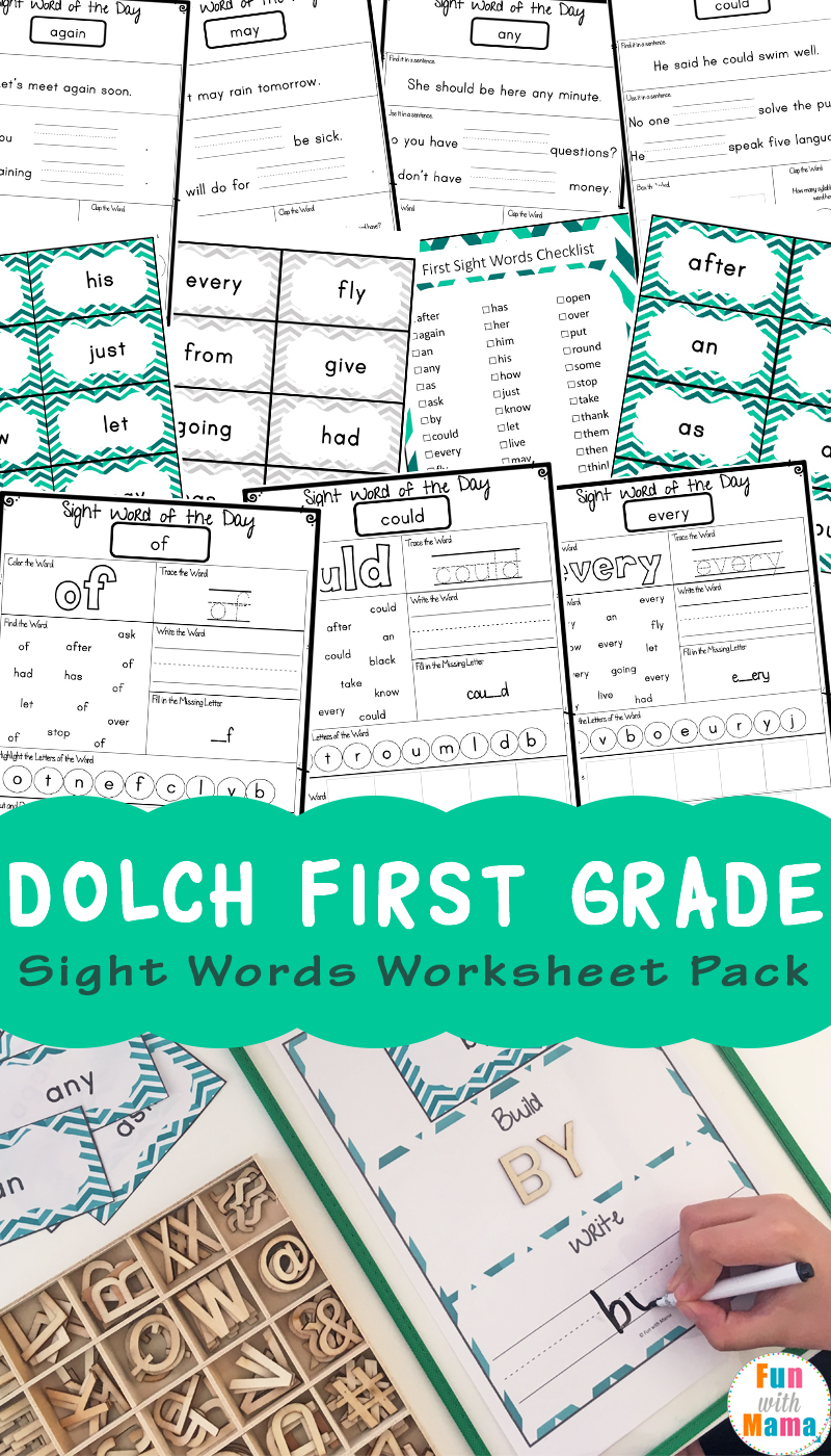 Dolch First Grade Sight Words Worksheets Fun With Mama