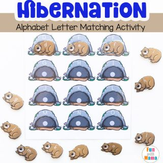 Hibernation Preschool Alphabet Letter Matching Activity