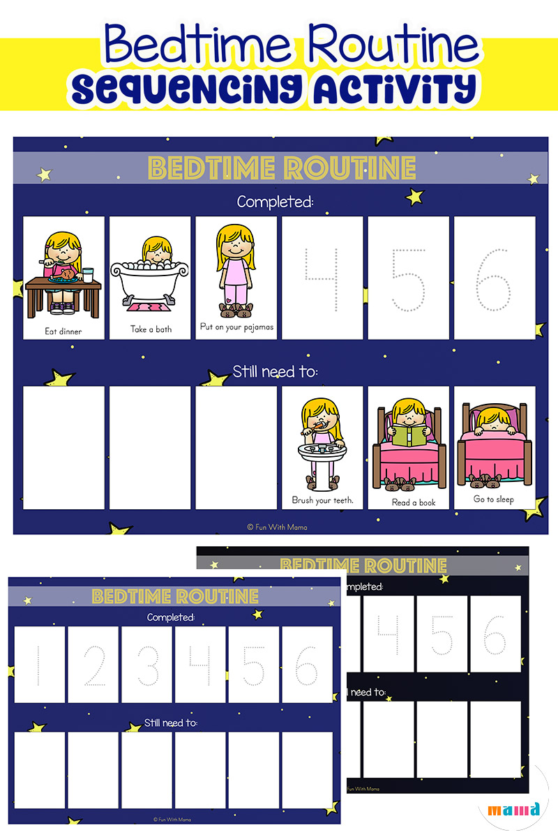 toddler bedtime routine chart sequencing activity - fun with mama