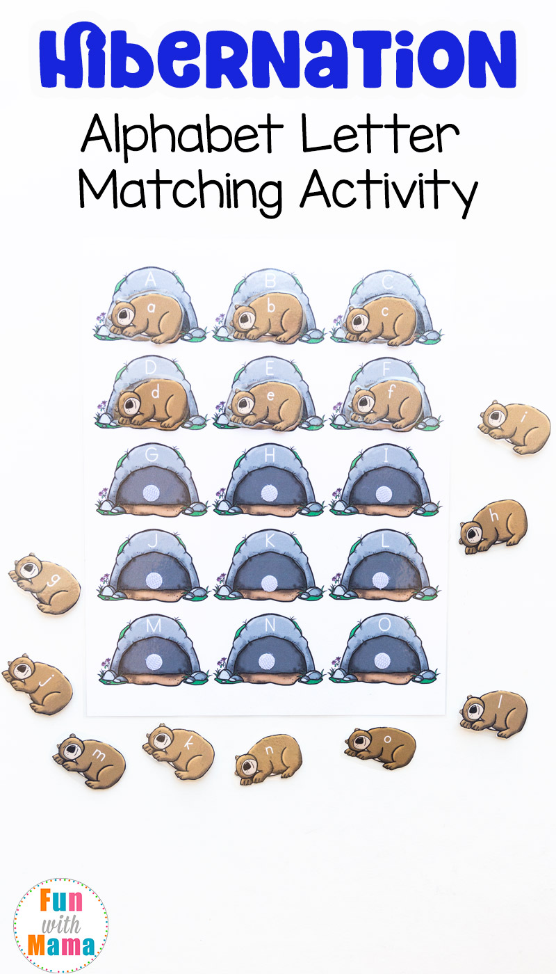 worksheet Hibernation Worksheets hibernation preschool alphabet letter matching activity fun with mama activity