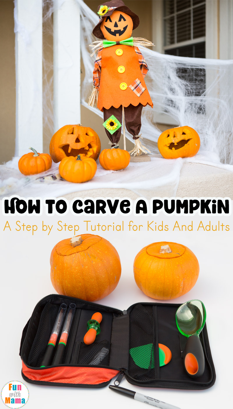how to carve a pumpkin with kids stepstep - fun with mama