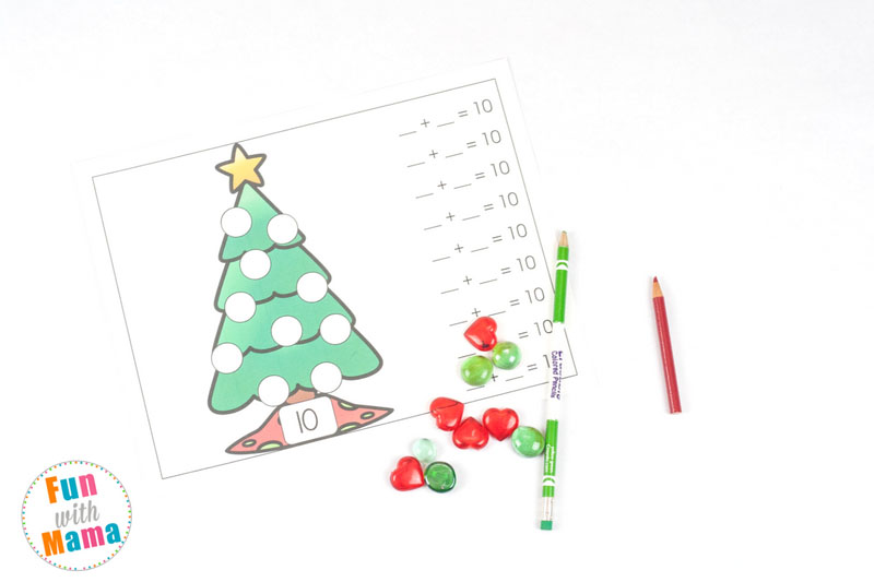 Math practice can always be more fun with hands-on activities. These Christmas Tree Addition Mats are the perfect addition to any Christmas themed math lesson! Use two colors of gems or small objects to practice adding up to numbers 2 to 10!