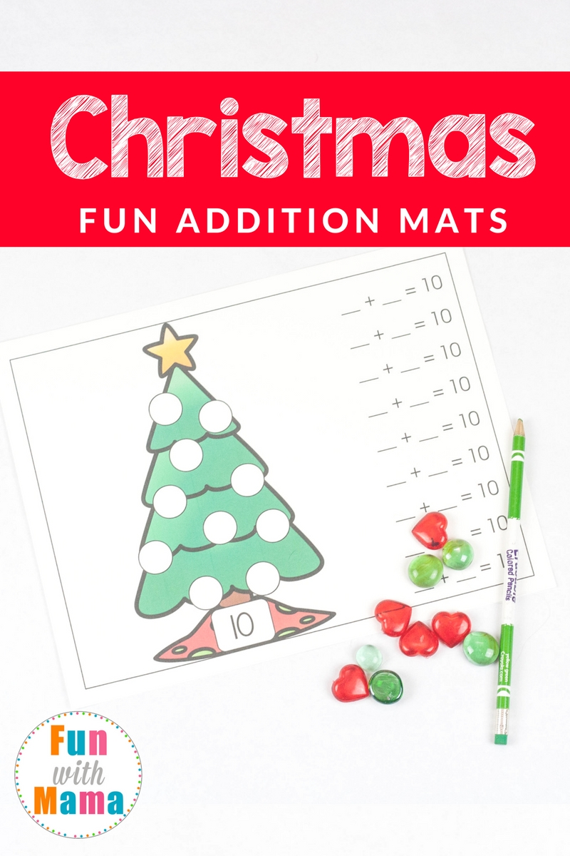 Christmas Math With Tree Addition Mats Fun With Mama