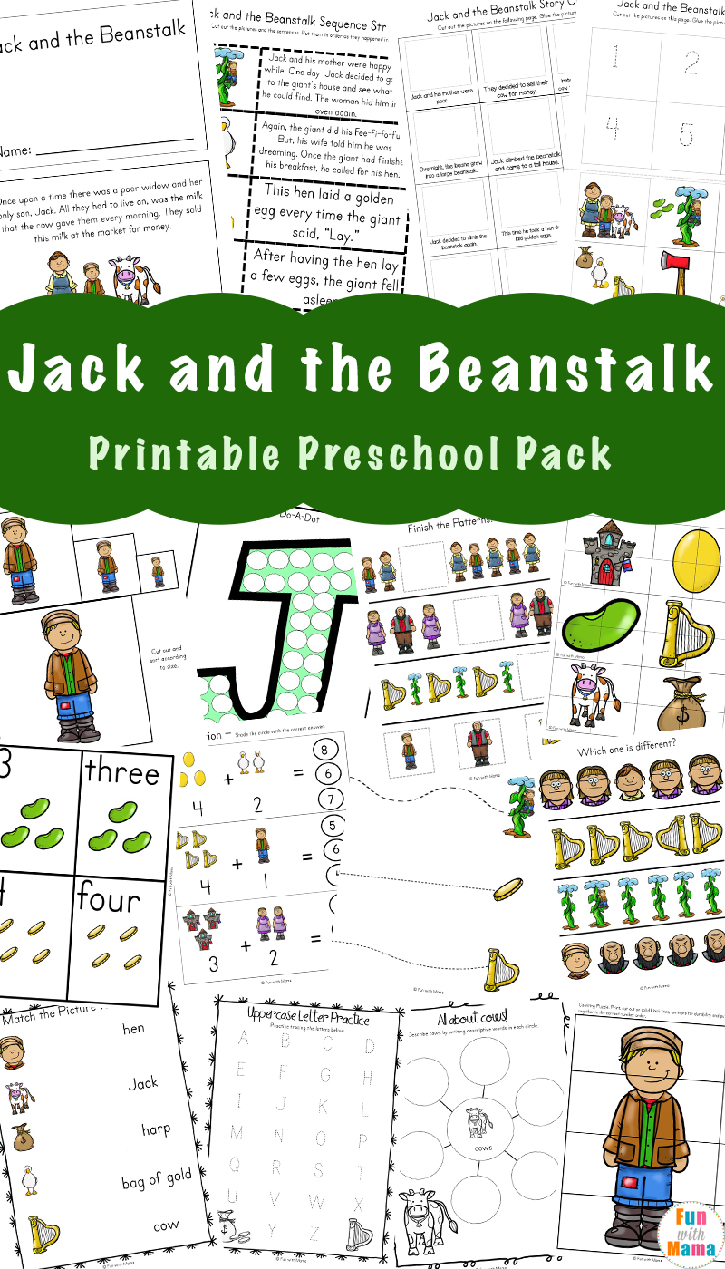 Free Jack and the Beanstalk Activities pack and worksheets for toddlers, preschool, and kindergarten students.