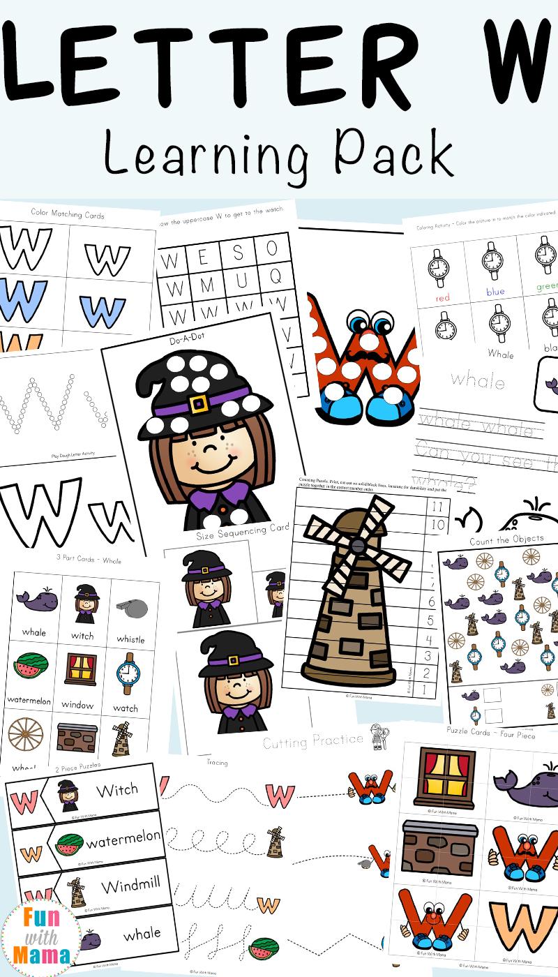 Letter W Worksheets For Preschool Kindergarten Fun With Mama