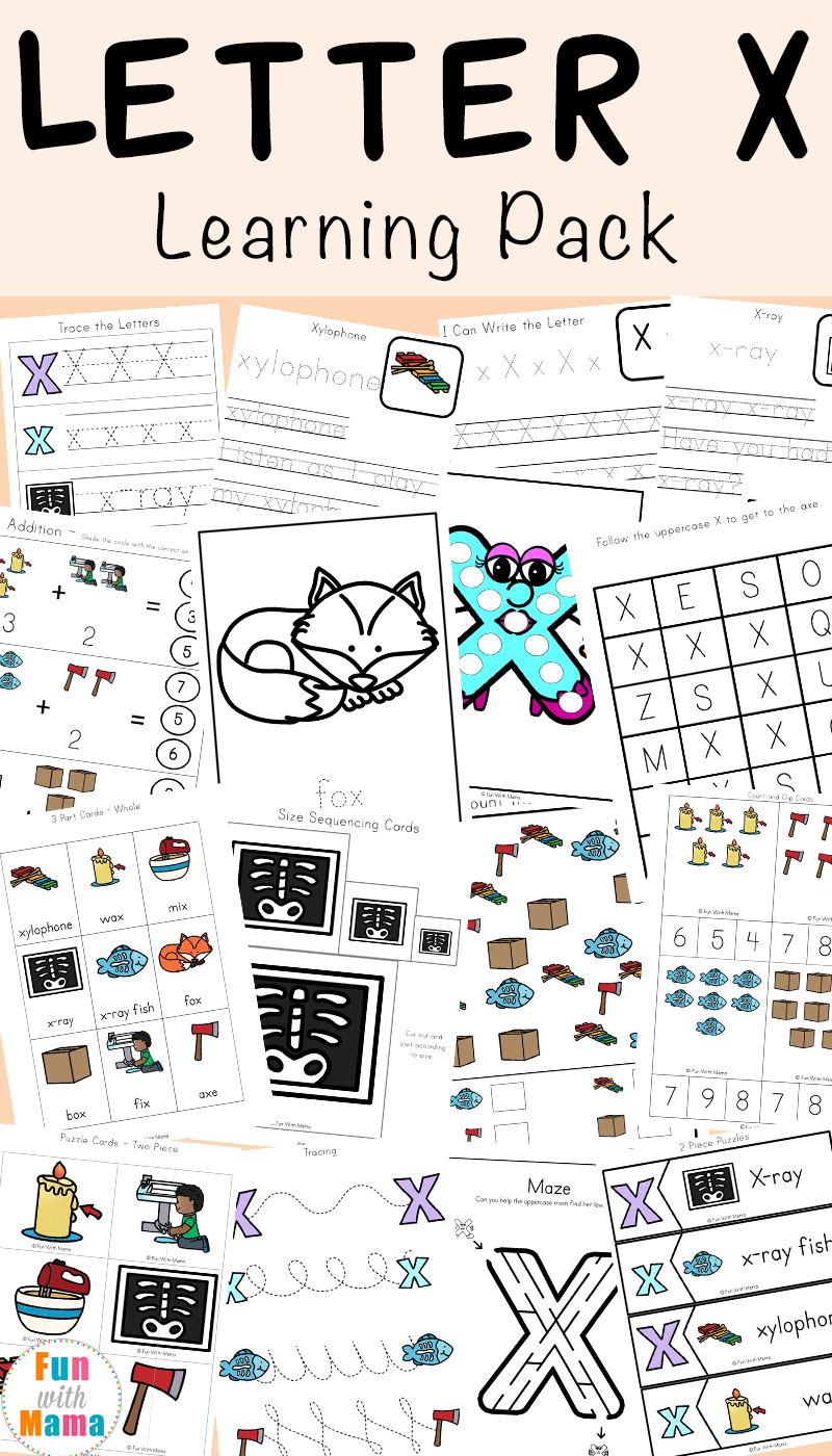 Letter X Worksheets For Preschool + Kindergarten - Fun with Mama