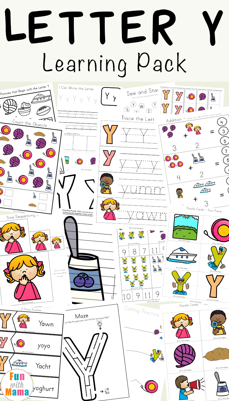 Free letter y worksheets for preschoolers, kindergarteners and toddlers. The activity pack includes coloring pages, play dough mats, fine motor activities, see and stamp, cut and paste and more letter y themed activities.