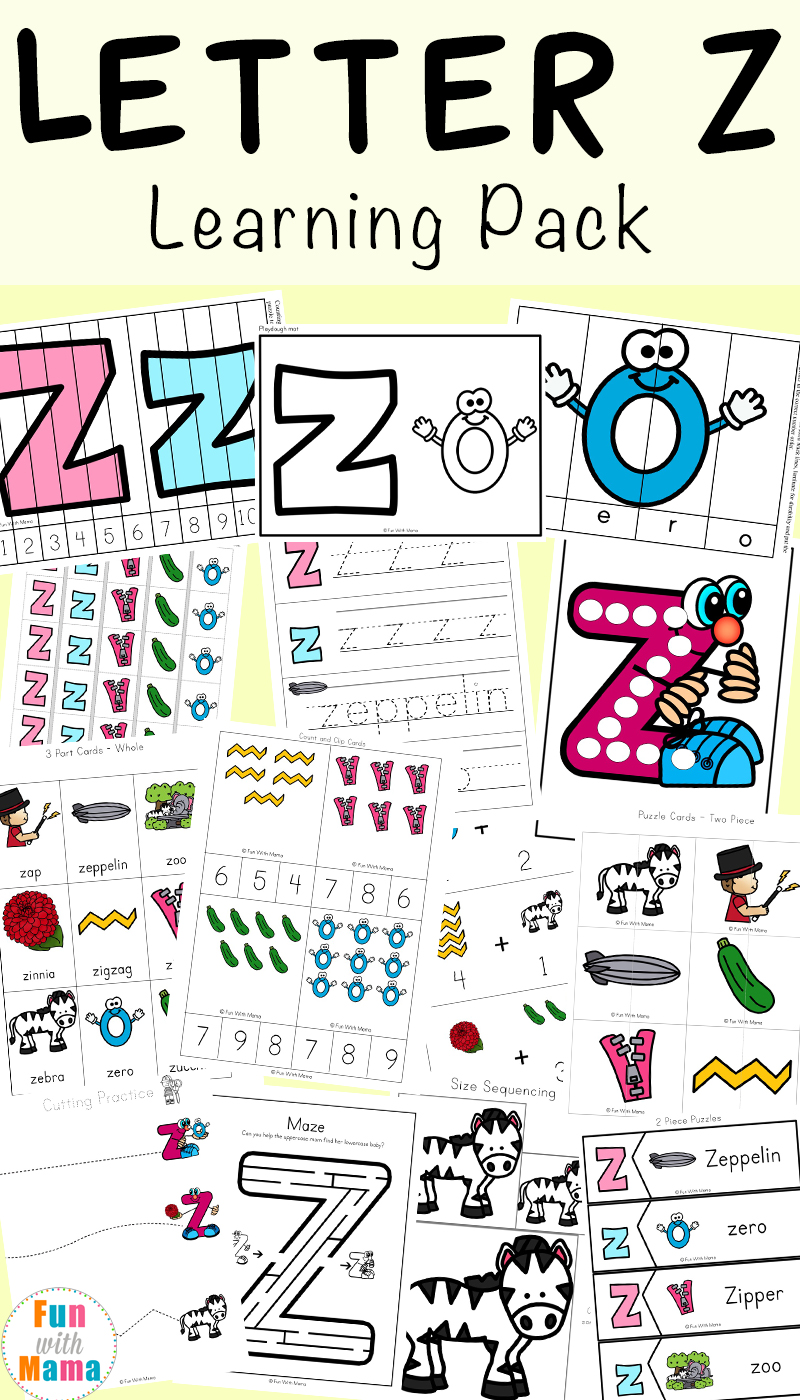 worksheet Letter Z Worksheet letter z worksheets for preschool kindergarten fun with mama the can be used in conjunction our printable alphabet crafts too