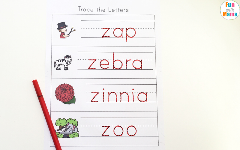 words that begin with the letter z