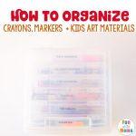 Art supply storage for toddler art supplies