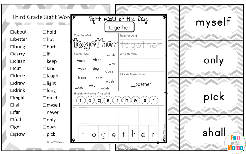 Free Dolch Third Grade Sight Words Worksheets Fun With Mama. High Frequency Words. Worksheet. 3rd Grade Worksheets At Mspartners.co