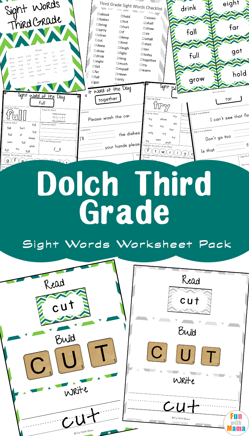 Free Dolch Third Grade Sight Words Worksheets - Fun with Mama