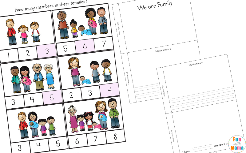 family members worksheet for kindergarten