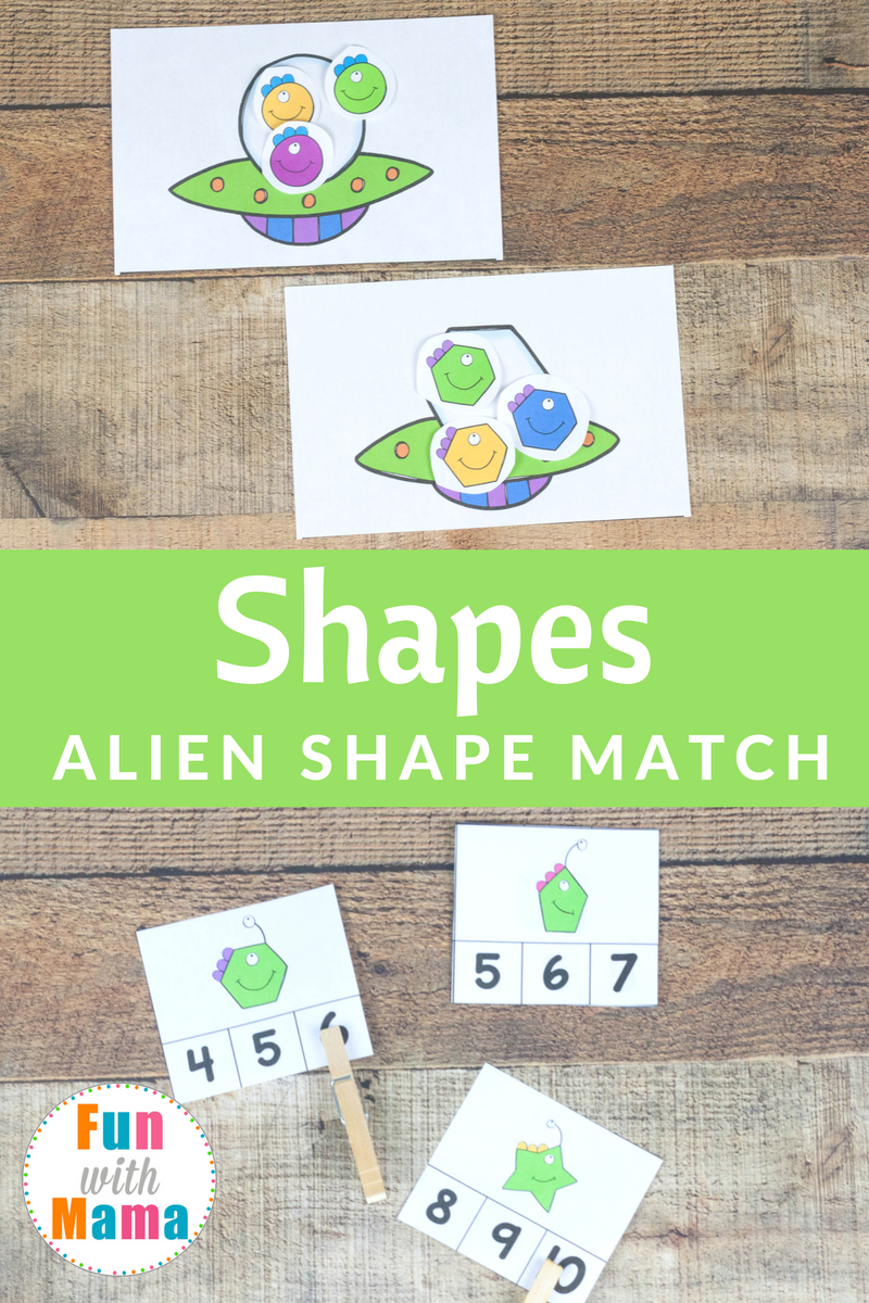 Alien Shapes For Kids Activities - Fun with Mama