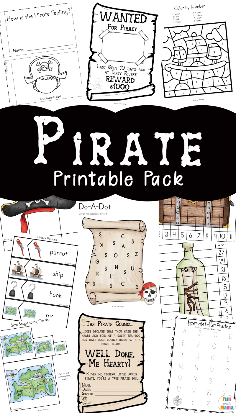 Pirate Coloring Pages + Pirate Activities - Fun with Mama