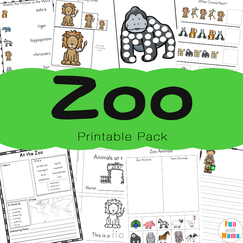 Zoo Animal Activities For Preschoolers Kindergarteners Fun With Mama