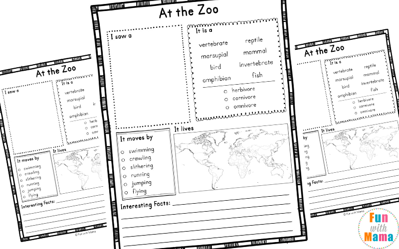 zoo animal activities for elementary students