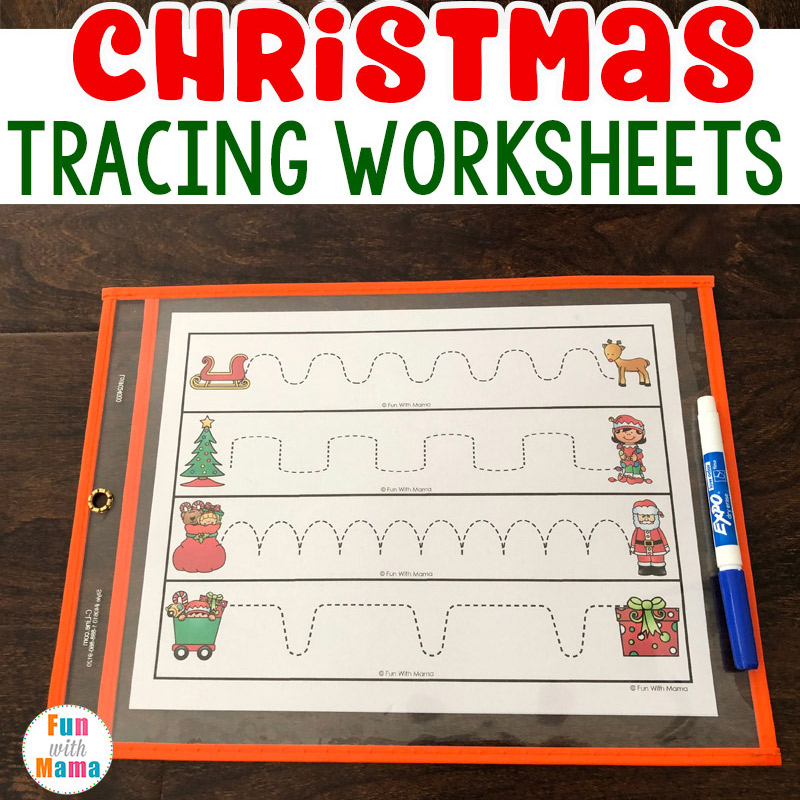 Christmas Preschool Tracing Worksheets - Fun With Mama