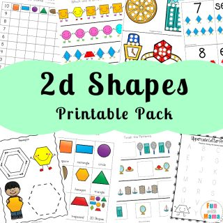 Printable Worksheets For Teaching 2D Shapes For Preschoolers and Kindergarteners