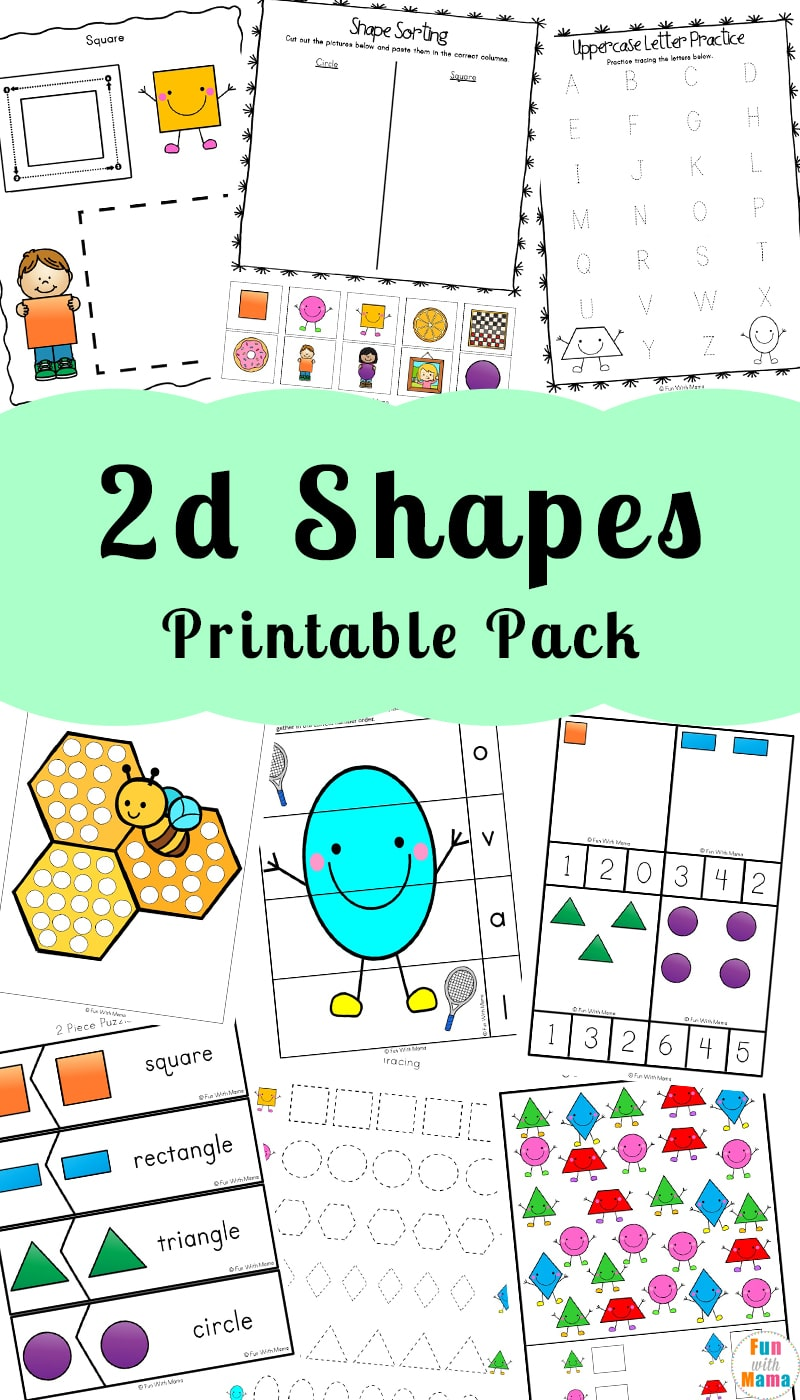 2D Shapes Worksheeets - Fun with Mama