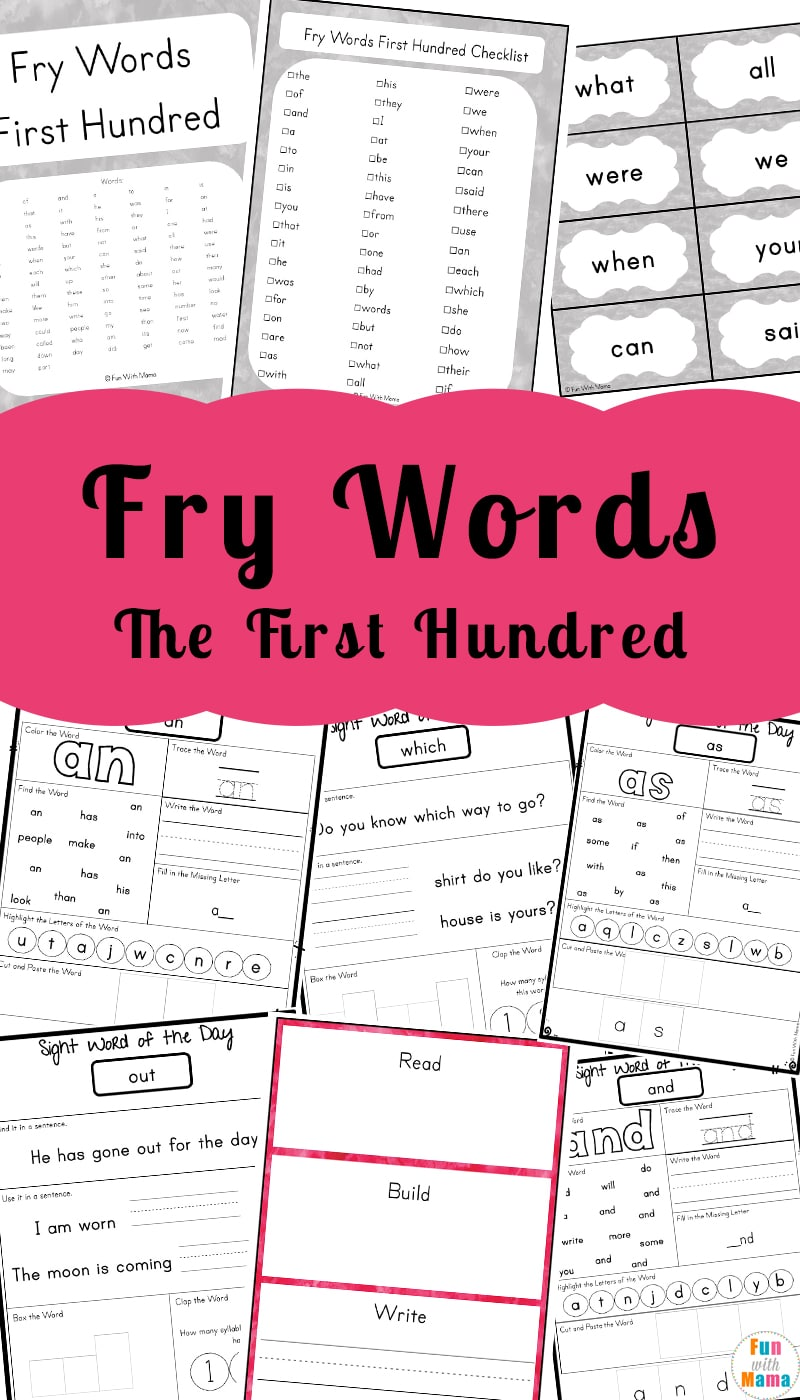 Kindergarten Sight Words Fun With Mama