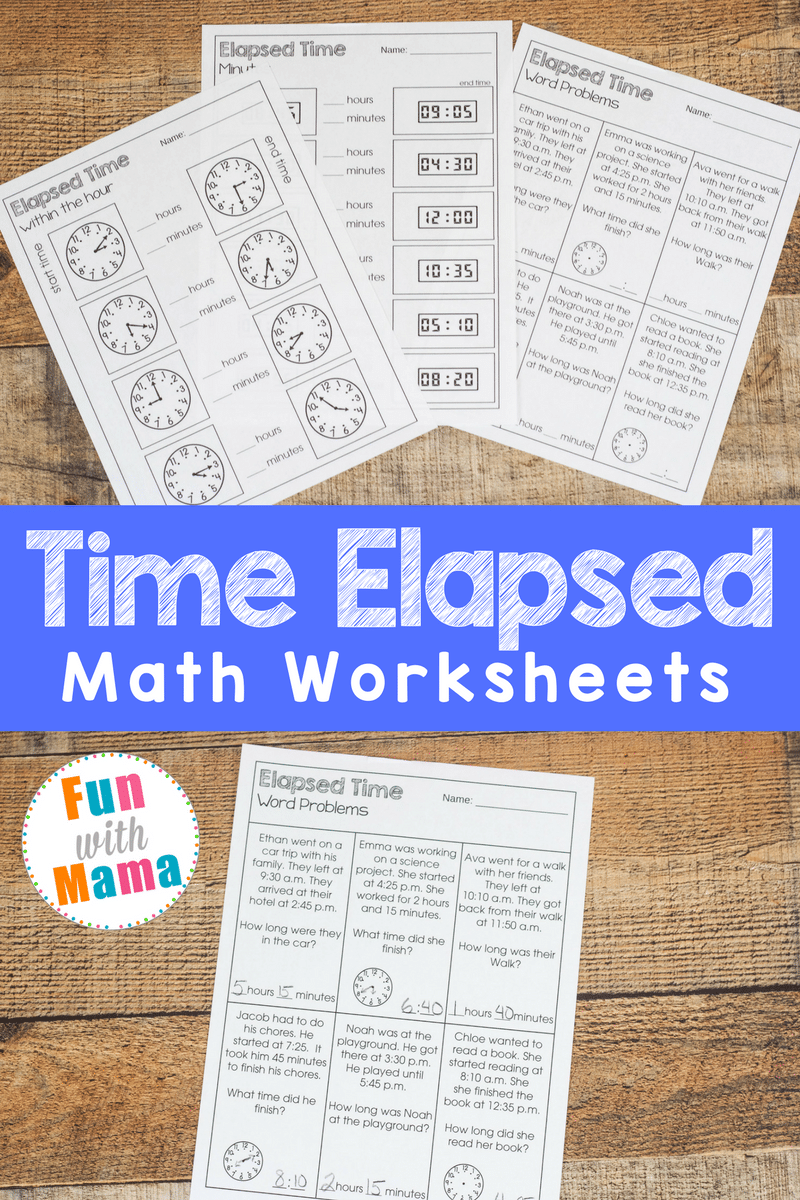 Elapsed Time Worksheets Fun with Mama